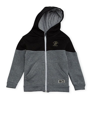 Boys 4-7 BHPC Paneled Hoodie with Graphic,BLACK,large
