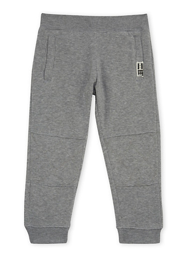 Boys 4-7 BHPC Joggers with Quilted Knee Panels,GREY,large