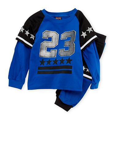 Boys 4-7 Layered Graphic Tee with Joggers Set,BLACK/BLUE,large