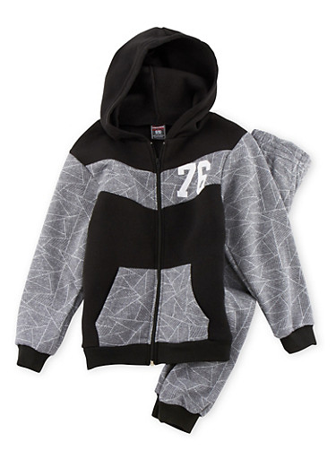 Boys 4-7 Printed Hoodie and Joggers Set,HEATHER,large