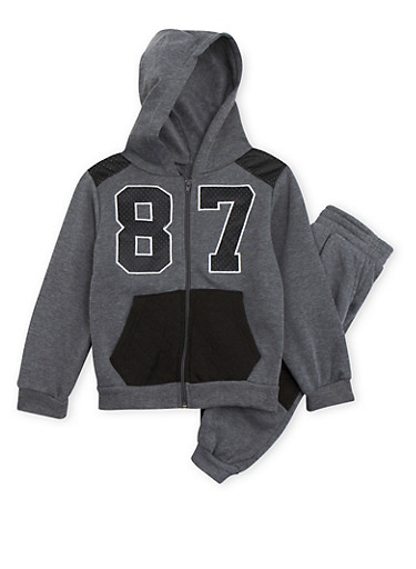 Boys 4-7 Quilted Hoodie and Joggers Set,CHARCOAL,large