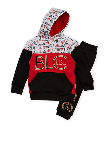 Boys 4-7 Blac Label Printed Hoodie and Joggers Set,BLACK,large