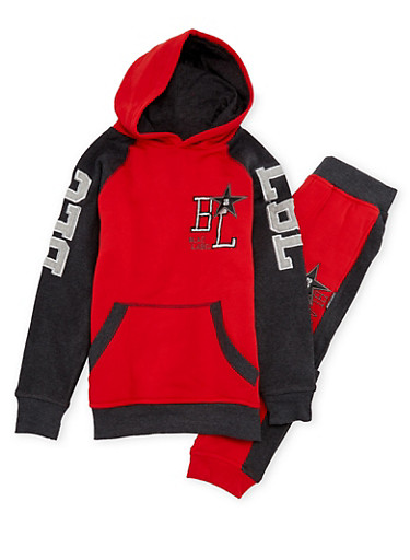 Boys 8-12 Blac Label Color Block Hoodie and Joggers Set,RED,large