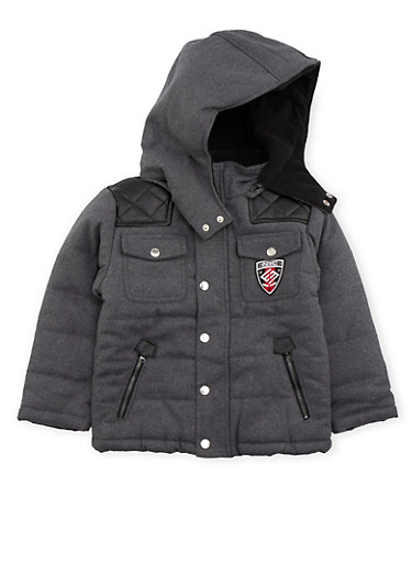 Boys 4-6 Enyce Padded Coat with Faux Leather Accents,HEATHER,large