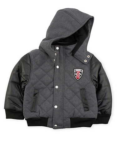 Boys 4-7 Enyce Quilted Jacket with Hood,BLACK,large