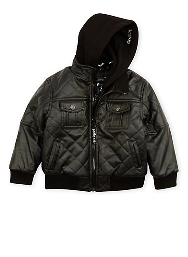 Boys 4-7 Pelle Pelle Quilted Faux Leather Jacket,BLACK,large