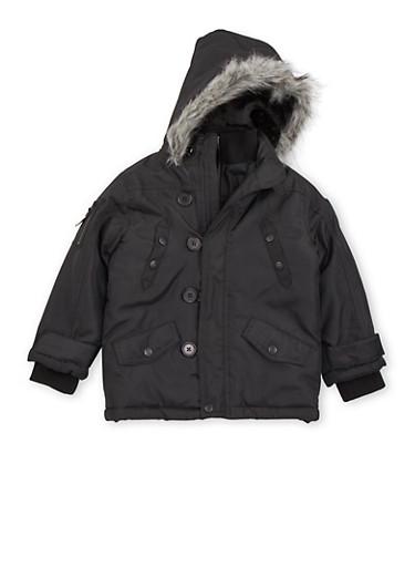Boys 4-7 Pelle Pelle Parka with Fur Hood,BLACK,large