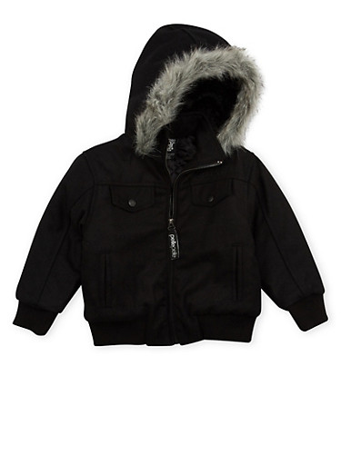 Boys 4-7 Pelle Pelle Parka with Fur Hood,BLACK,large