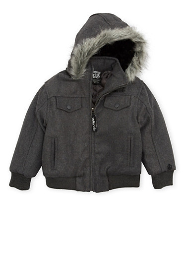 Boys 4-7 Pelle Pelle Hooded Jacket with Faux Fur Trim,CHARCOAL,large
