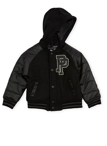 Boys 4-7 Pelle Pelle Hooded Varsity Jacket,BLACK,large