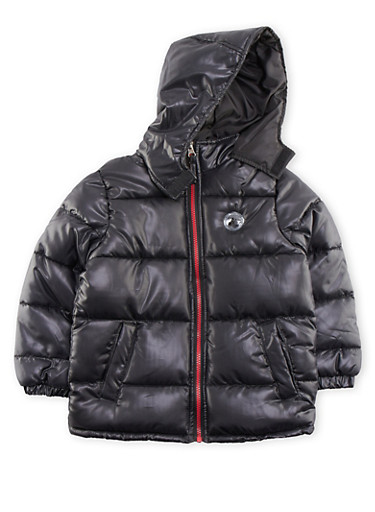 Boys 4-7 Quilted Puffer Coat with Hood,BLACK,large