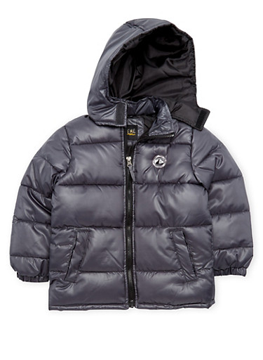 Boys 4-7 Puffer Coat with Attached Hood,GREY,large