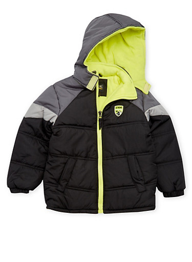Boys 4-7 Puffer Coat with Hood,BLACK,large
