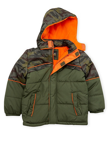 Boys 4-7 Camo Puffer Coat with Attached Hood,FOREST,large