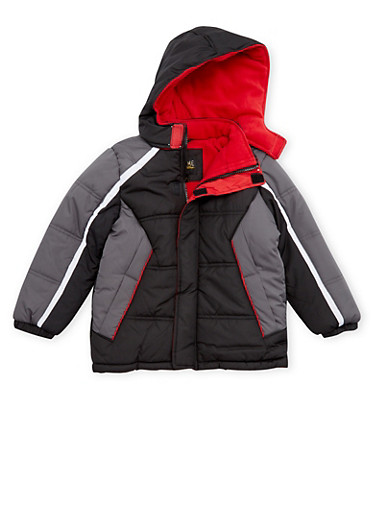 Boys 4-7 Color Block Puffer Coat with Hood,BLACK,large