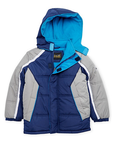 Boys 4-7 Color Block Puffer Coat with Hood,NAVY,large