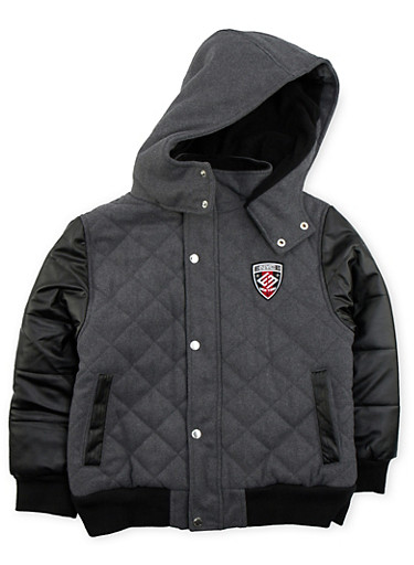 Boys 8-18 Enyce Quilted Jacket with Hood,BLACK,large