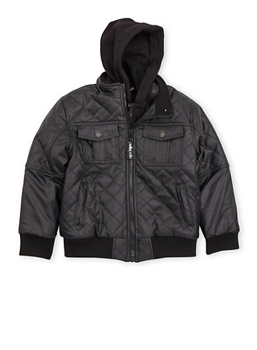 Boys 8-18 Quilted Faux Leather Jacket with Knit Hood,BLACK,large
