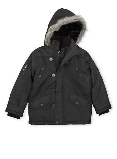 Boys 8-18 Parka with Fur Hood,BLACK,large