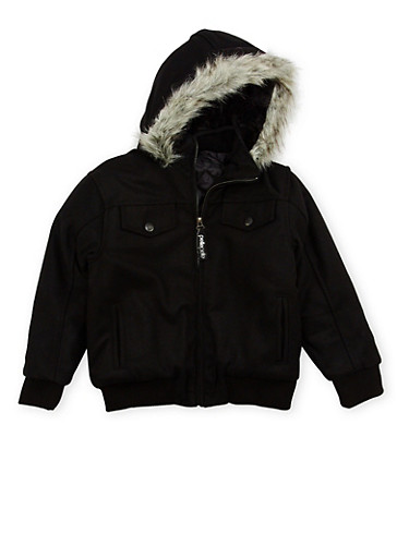 Boys 8-18 Pelle Pelle Jacket with Faux Fur Trim,BLACK,large