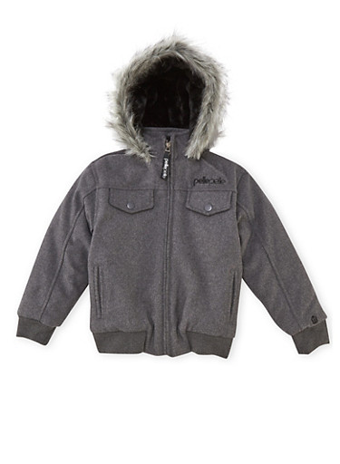 Boys 8-18 Pelle Pelle Parka with Fur Hood,CHARCOAL,large