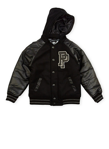 Boys 8-18 Pelle Pelle Hooded Varsity Jacket,BLACK,large