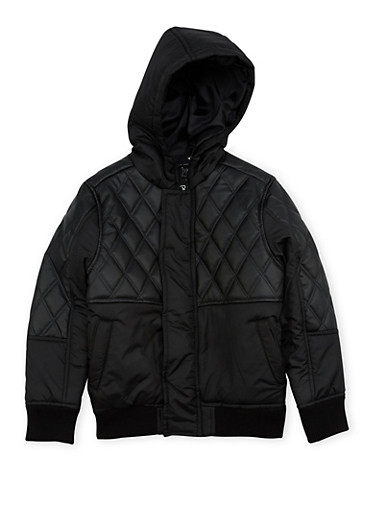 Boys 8-18 Pelle Pelle Jacket with Quilted Leather,BLACK,large
