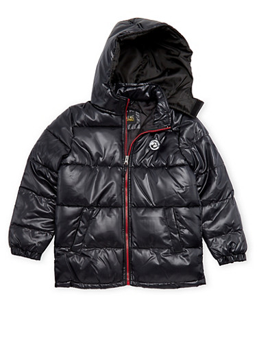 Boys 8-18 Puffer Coat with Hood,BLACK,large