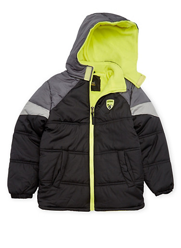 Boys 8-18 Puffer Coat with Attached Hood,BLACK,large