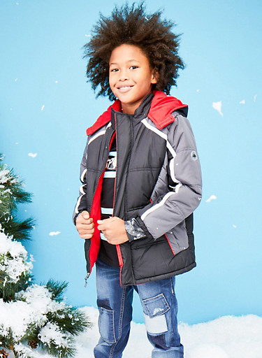 Boys 8-18 Color Block Puffer Coat with Hood,BLACK,large