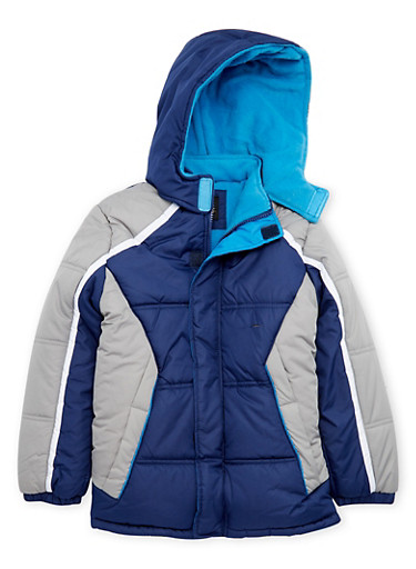 Boys 10-18 Color Block Puffer Coat with Hood,HEATHER,large