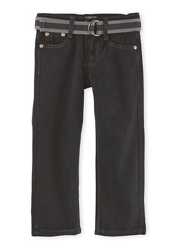 Boys 4-7 Belted Jeans,BLACK,large