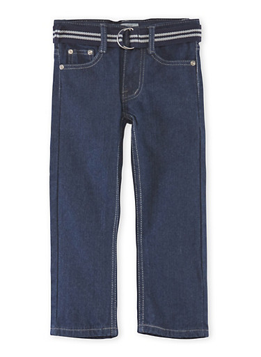 Boys 4-7 Belted Jeans with Embroidered Pockets,DARK WASH,large