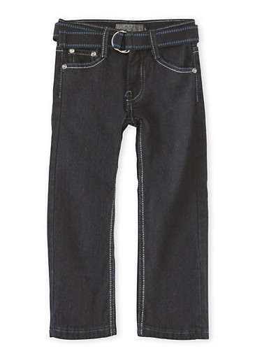 Boys 4-7 Belted Jeans with Embroidered Pockets,BLACK,large