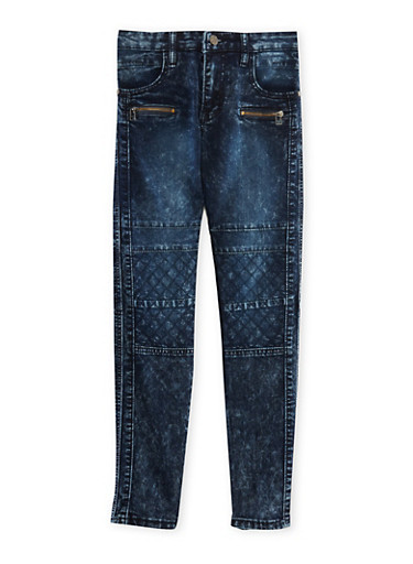 Boys 8-18 Acid Wash Moto Jeans with Zipper Accents,INDIGO,large