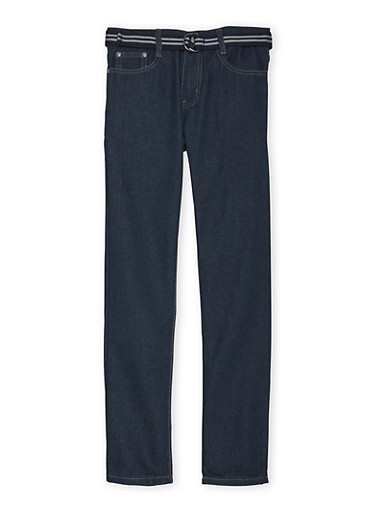 Boys 8-18 Jeans with Fabric Belt,DARK WASH,large