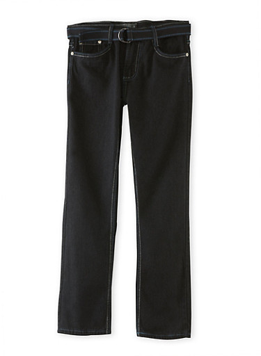 Boys 8-18 Five Pocket Belted Jeans,BLACK,large