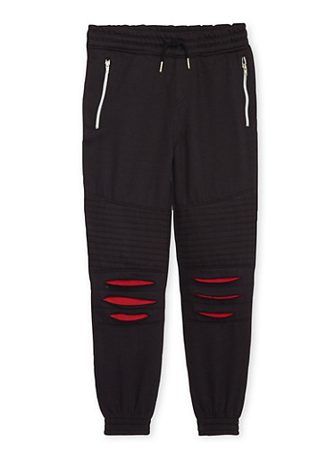 Boys 8-20 Moto Joggers with Zippers and Slash Cuts,BLACK,large