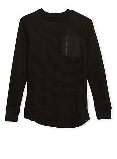 Boys 8-18 Square Knit Pullover with Zipper Pocket,BLACK,large