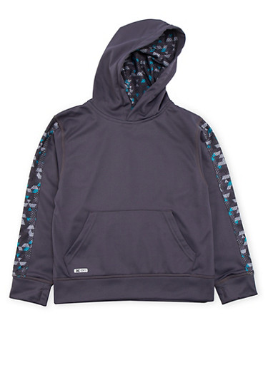 Boys 8-18 Hoodie with Printed Mesh Paneling,CHARCOAL,large