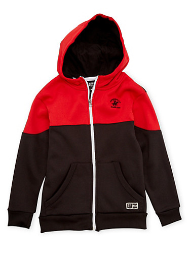 Boys 8-20 BHPC Hoodie with Zip Front,RED,large