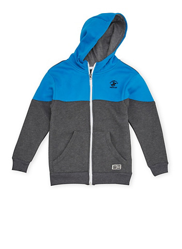 Boys 8-20 BHPC Hoodie with Zip Front,BLUE,large