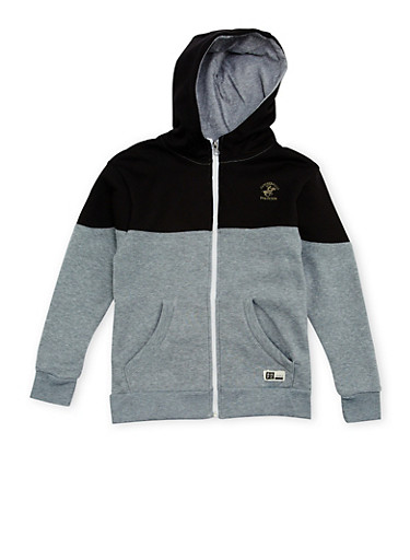 Boys 8-20 BHPC Paneled Hoodie with Graphic,GREY,large