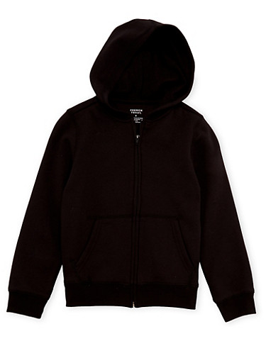 Boys 8-16 French Toast Zip Front Hoodie,BLACK,large