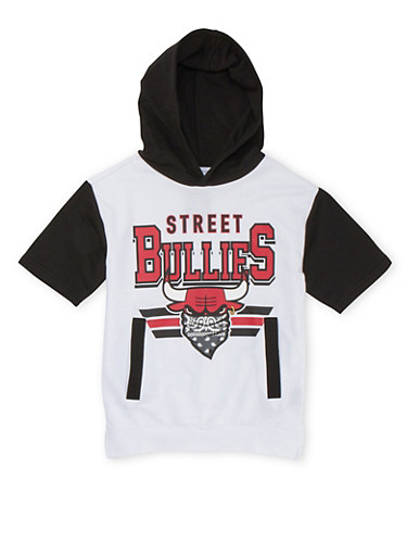 Boys 8-20 Graphic Short Sleeve Hoodie with Street Bullies Print,WHITE,large