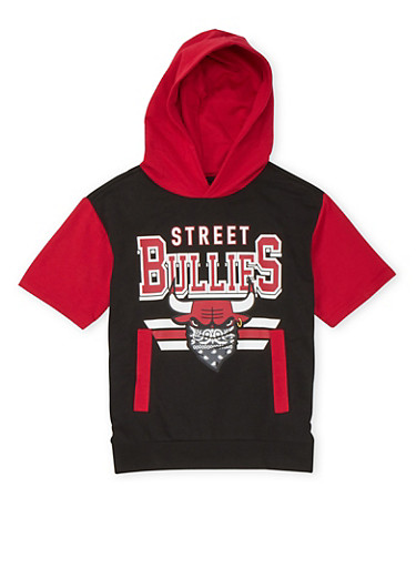 Boys 8-20 Short Sleeve Hoodie with Street Bullies Graphic,BLACK,large