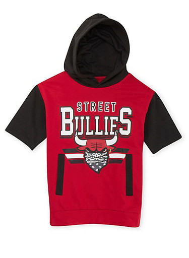Boys 8-20 Short Sleeve Hoodie with Street Bullies Graphic,RED,large