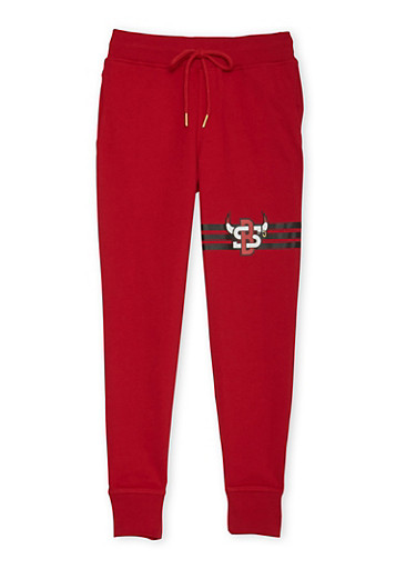 Boys 8-20 Joggers with Bull and Stripes Graphic,RED,large