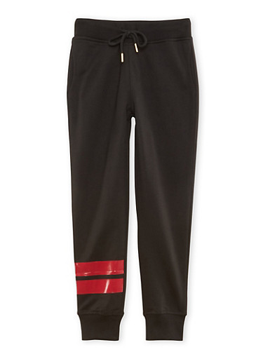Boys 8-20 Black Joggers with Red Stripes and Drawstring Waist,BLACK/RED,large