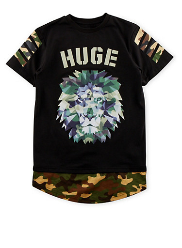 Boys 8-20 Lion Graphic with Camo Paneling,BLACK,large